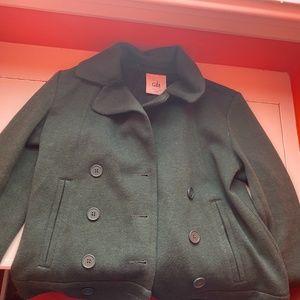dark green Cabi peacoat style jacket sz S EUC